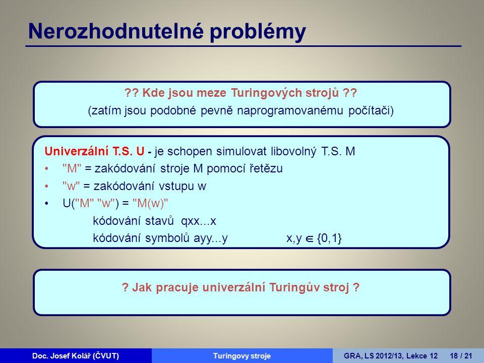 Doc. Josef Kolář (ČVUT)Prohledávání grafůGRA, LS 2010/11, Lekce 4 18 / 15Doc. Josef Kolář (ČVUT)Turingovy strojeGRA, LS 2012/13, Lekce 12 18 / 21 Nero
