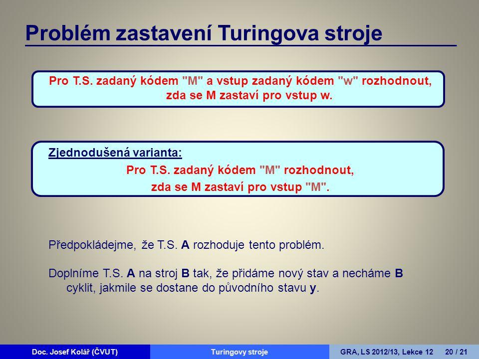 Doc. Josef Kolář (ČVUT)Prohledávání grafůGRA, LS 2010/11, Lekce 4 20 / 15Doc. Josef Kolář (ČVUT)Turingovy strojeGRA, LS 2012/13, Lekce 12 20 / 21 Prob