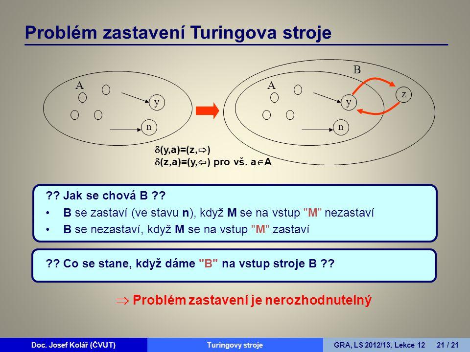 Doc. Josef Kolář (ČVUT)Prohledávání grafůGRA, LS 2010/11, Lekce 4 21 / 15Doc. Josef Kolář (ČVUT)Turingovy strojeGRA, LS 2012/13, Lekce 12 21 / 21 ?? J