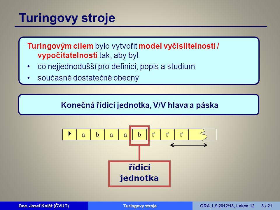 Doc. Josef Kolář (ČVUT)Prohledávání grafůGRA, LS 2010/11, Lekce 4 3 / 15Doc. Josef Kolář (ČVUT)Turingovy strojeGRA, LS 2012/13, Lekce 12 3 / 21 Turing