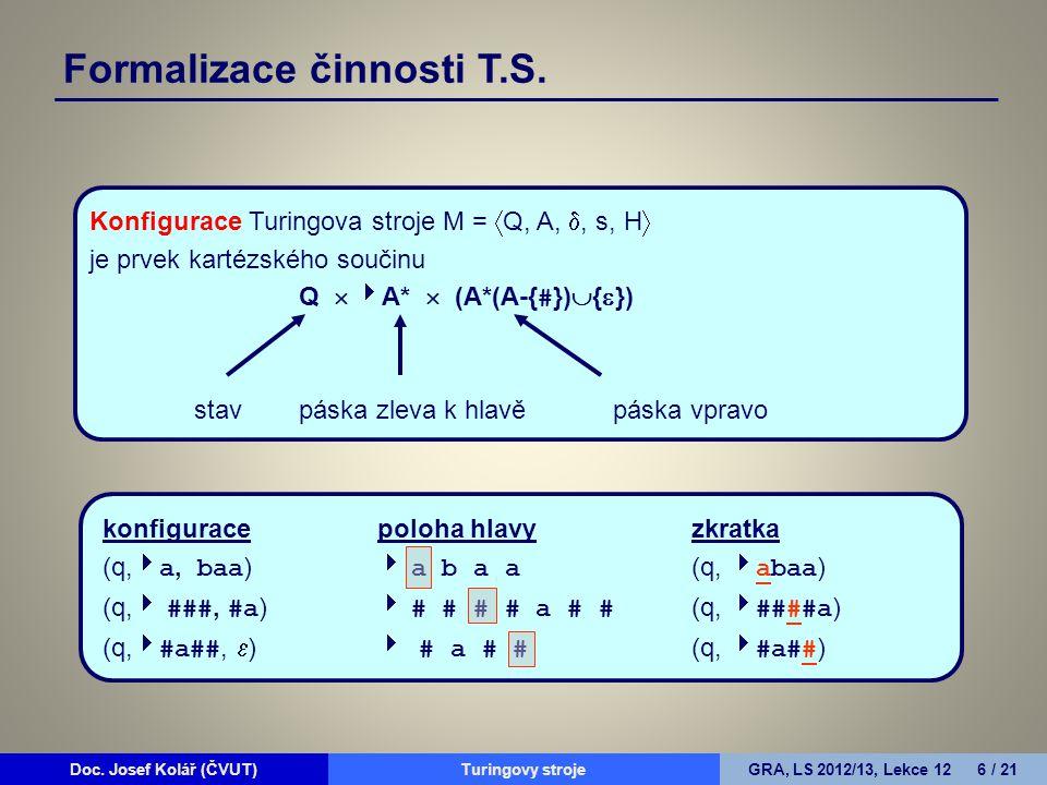 Doc. Josef Kolář (ČVUT)Prohledávání grafůGRA, LS 2010/11, Lekce 4 6 / 15Doc. Josef Kolář (ČVUT)Turingovy strojeGRA, LS 2012/13, Lekce 12 6 / 21 Formal