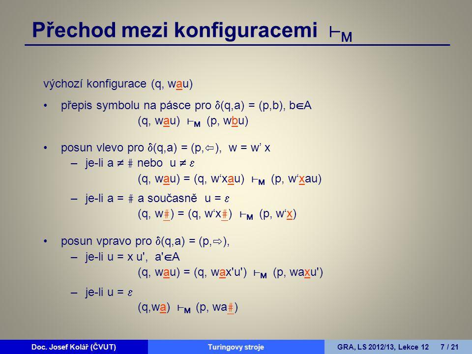 Doc. Josef Kolář (ČVUT)Prohledávání grafůGRA, LS 2010/11, Lekce 4 7 / 15Doc. Josef Kolář (ČVUT)Turingovy strojeGRA, LS 2012/13, Lekce 12 7 / 21 výchoz