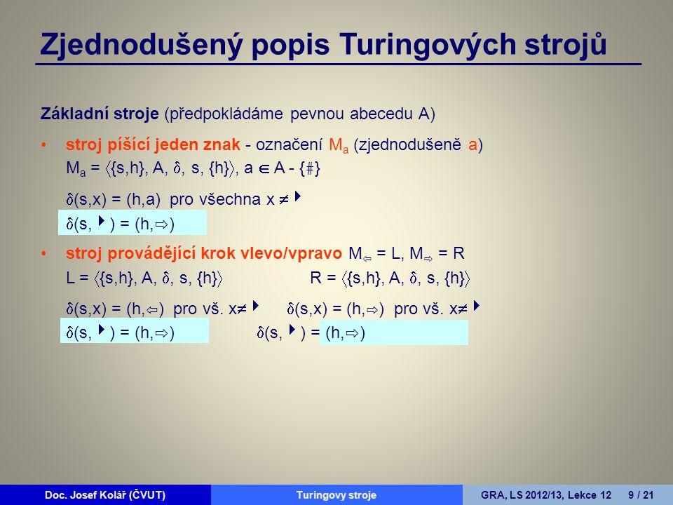 Doc. Josef Kolář (ČVUT)Prohledávání grafůGRA, LS 2010/11, Lekce 4 9 / 15Doc. Josef Kolář (ČVUT)Turingovy strojeGRA, LS 2012/13, Lekce 12 9 / 21 Zjedno