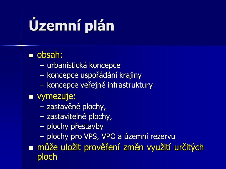 Územní plán obsah: obsah: –urbanistická koncepce –koncepce uspořádání krajiny –koncepce veřejné infrastruktury vymezuje: vymezuje: –zastavěné plochy, –zastavitelné plochy, –plochy přestavby –plochy pro VPS, VPO a územní rezervu může uložit prověření změn využití určitých ploch může uložit prověření změn využití určitých ploch