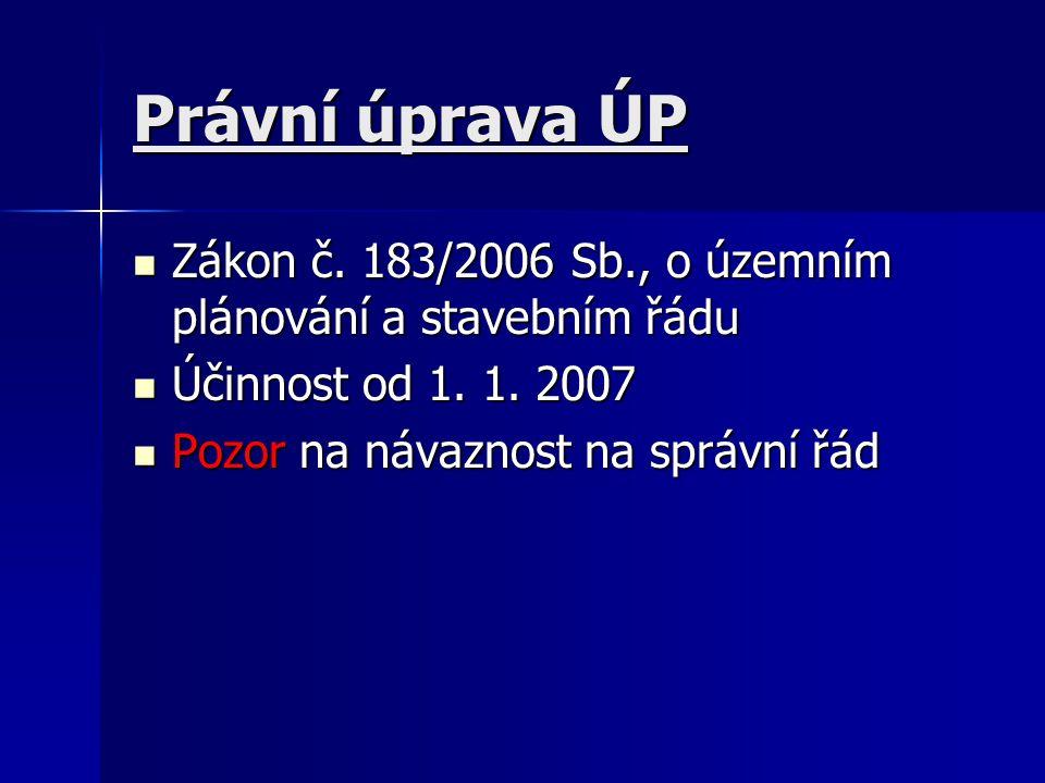 Právní úprava ÚP Zákon č. 183/2006 Sb., o územním plánování a stavebním řádu Zákon č.