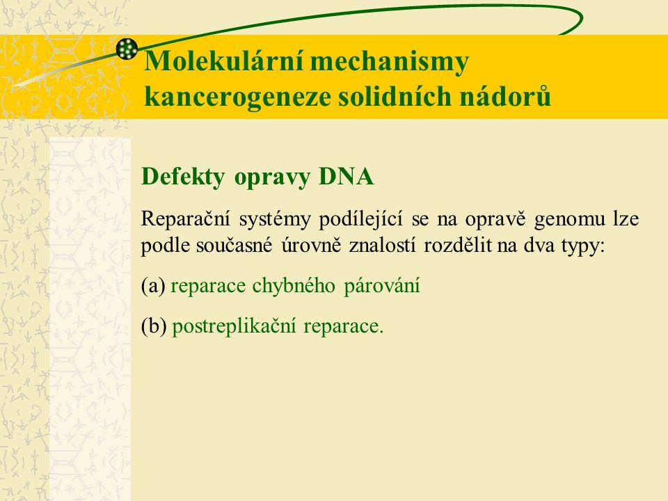 Molekulární mechanismy kancerogeneze solidních nádorů Defekty opravy DNA Reparační systémy podílející se na opravě genomu lze podle současné úrovně zn
