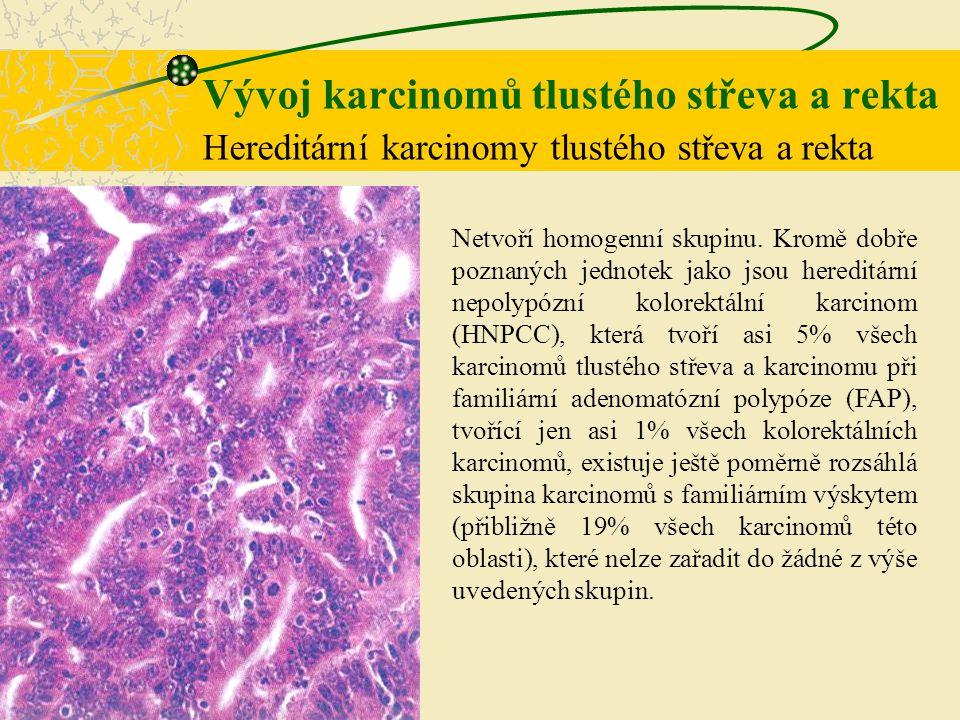Vývoj karcinomů tlustého střeva a rekta Hereditární karcinomy tlustého střeva a rekta Netvoří homogenní skupinu. Kromě dobře poznaných jednotek jako j