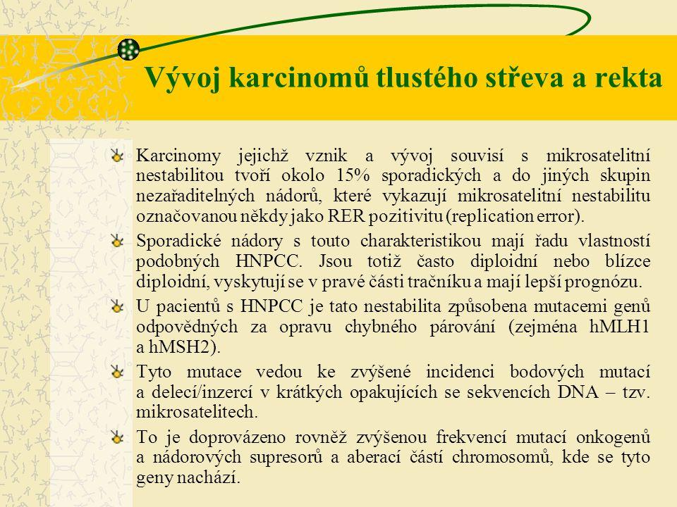 Vývoj karcinomů tlustého střeva a rekta Karcinomy jejichž vznik a vývoj souvisí s mikrosatelitní nestabilitou tvoří okolo 15% sporadických a do jiných