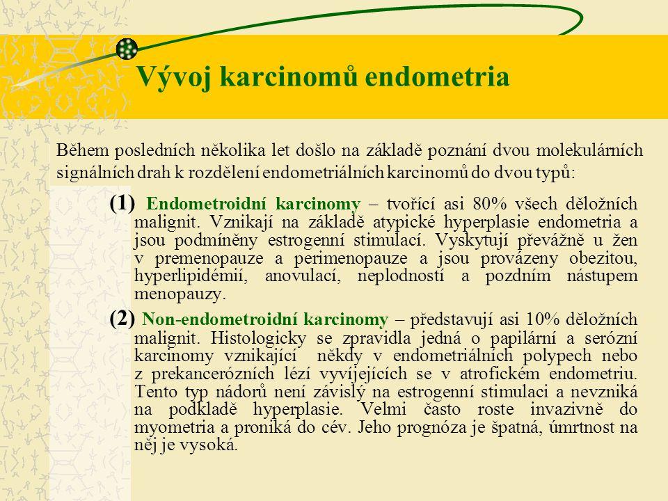 (1) Endometroidní karcinomy – tvořící asi 80% všech děložních malignit. Vznikají na základě atypické hyperplasie endometria a jsou podmíněny estrogenn