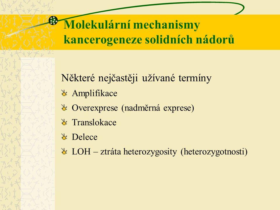 Molekulární mechanismy kancerogeneze solidních nádorů Některé nejčastěji užívané termíny Amplifikace Overexprese (nadměrná exprese) Translokace Delece