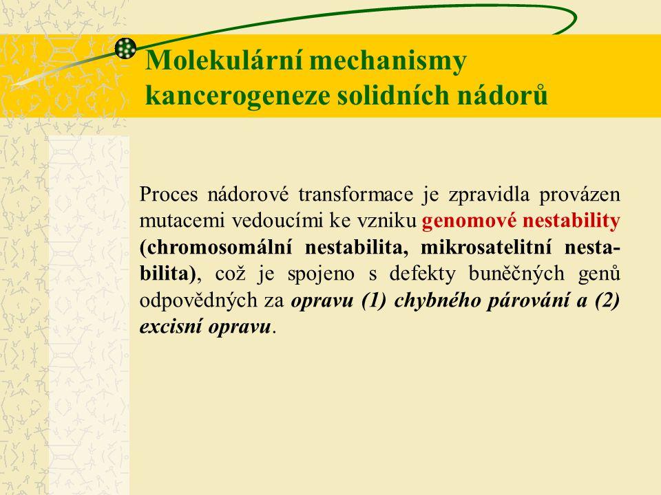 Molekulární mechanismy kancerogeneze solidních nádorů Proces nádorové transformace je zpravidla provázen mutacemi vedoucími ke vzniku genomové nestabi
