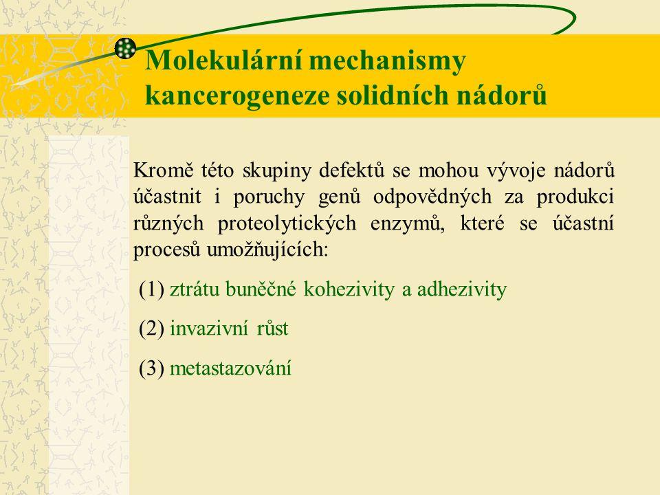 Molekulární mechanismy kancerogeneze solidních nádorů Dále bylo zjištěno, že během nádorové transformace může rovněž docházet k epigenetickým změnám (změny, při kterých je genetická informace ovlivněna modifikacemi nukleotidů a terciální i kvarterní strukturou DNA), jako například ke změnám metylace DNA, či acetylace histonů, ke změnám organizace jádra atd.