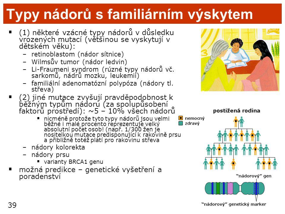 39 Typy nádorů s familiárním výskytem  (1) některé vzácné typy nádorů v důsledku vrozených mutací (většinou se vyskytují v dětském věku): –retinoblas