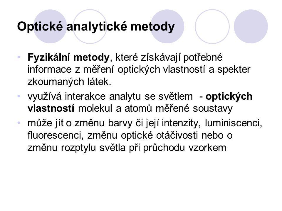 Optické analytické metody Fyzikální metody, které získávají potřebné informace z měření optických vlastností a spekter zkoumaných látek.