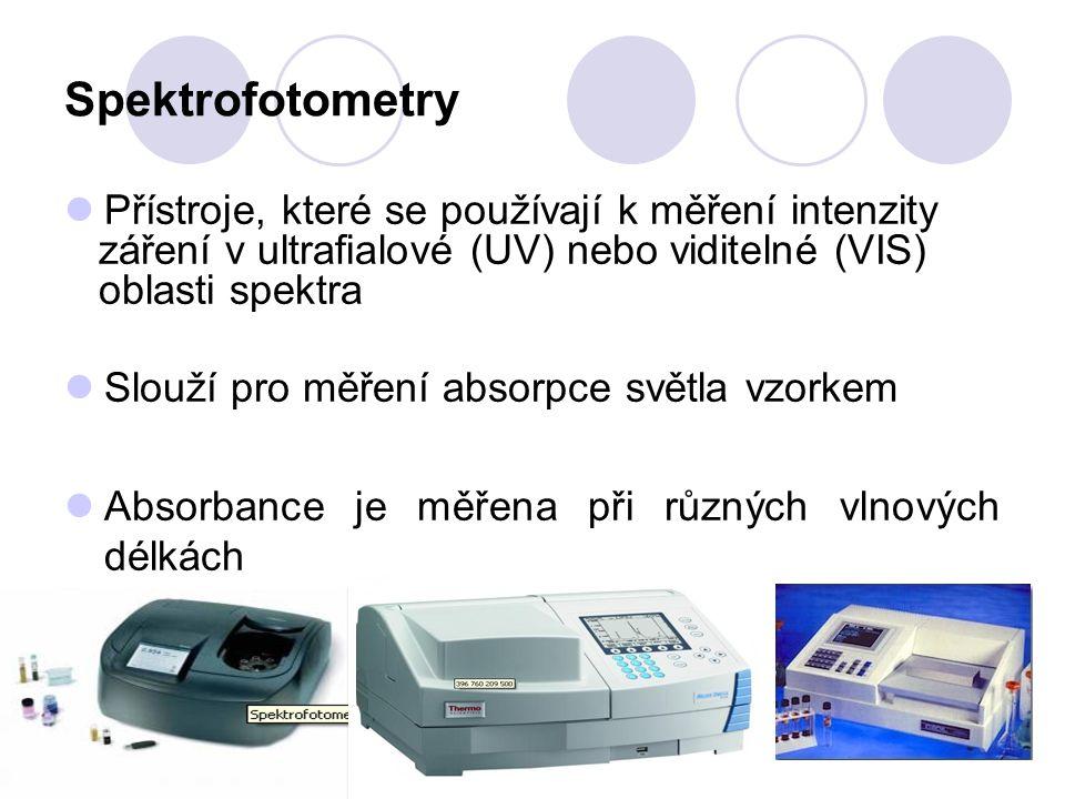 Spektrofotometry Přístroje, které se používají k měření intenzity záření v ultrafialové (UV) nebo viditelné (VIS) oblasti spektra Slouží pro měření absorpce světla vzorkem Absorbance je měřena při různých vlnových délkách
