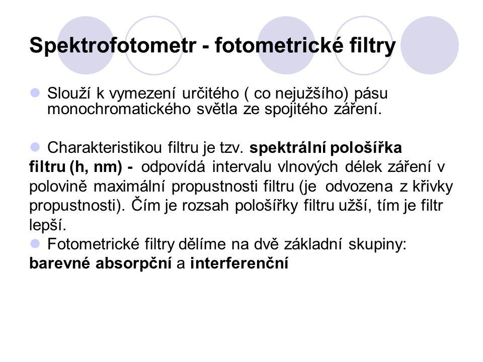 Spektrofotometr - fotometrické filtry Slouží k vymezení určitého ( co nejužšího) pásu monochromatického světla ze spojitého záření. Charakteristikou f