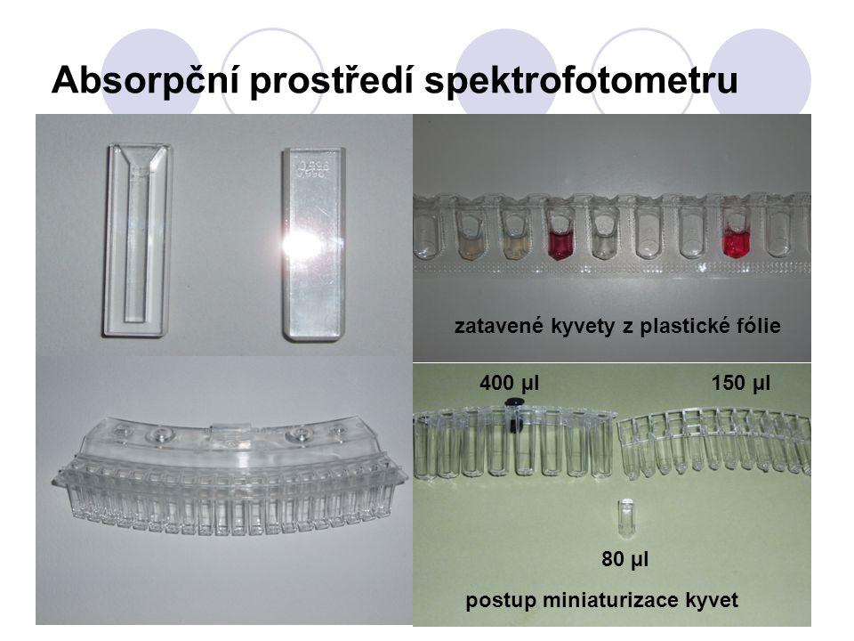 Absorpční prostředí spektrofotometru zatavené kyvety z plastické fólie postup miniaturizace kyvet 400 µl 150 µl 80 µl