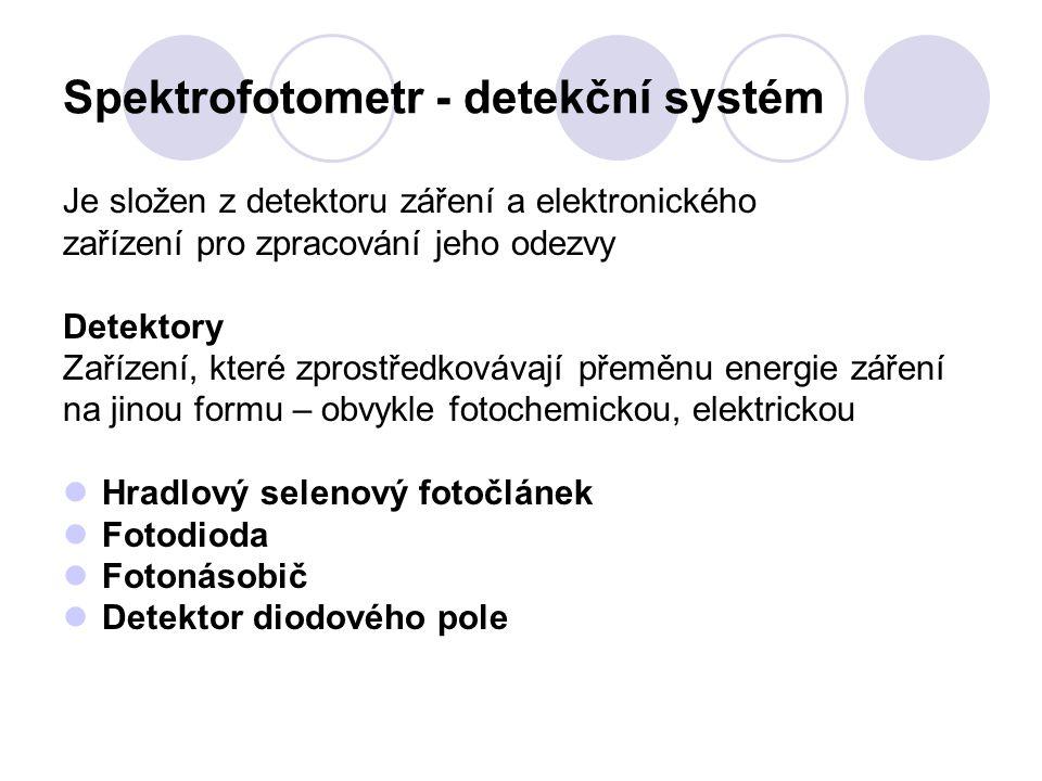 Spektrofotometr - detekční systém Je složen z detektoru záření a elektronického zařízení pro zpracování jeho odezvy Detektory Zařízení, které zprostředkovávají přeměnu energie záření na jinou formu – obvykle fotochemickou, elektrickou Hradlový selenový fotočlánek Fotodioda Fotonásobič Detektor diodového pole