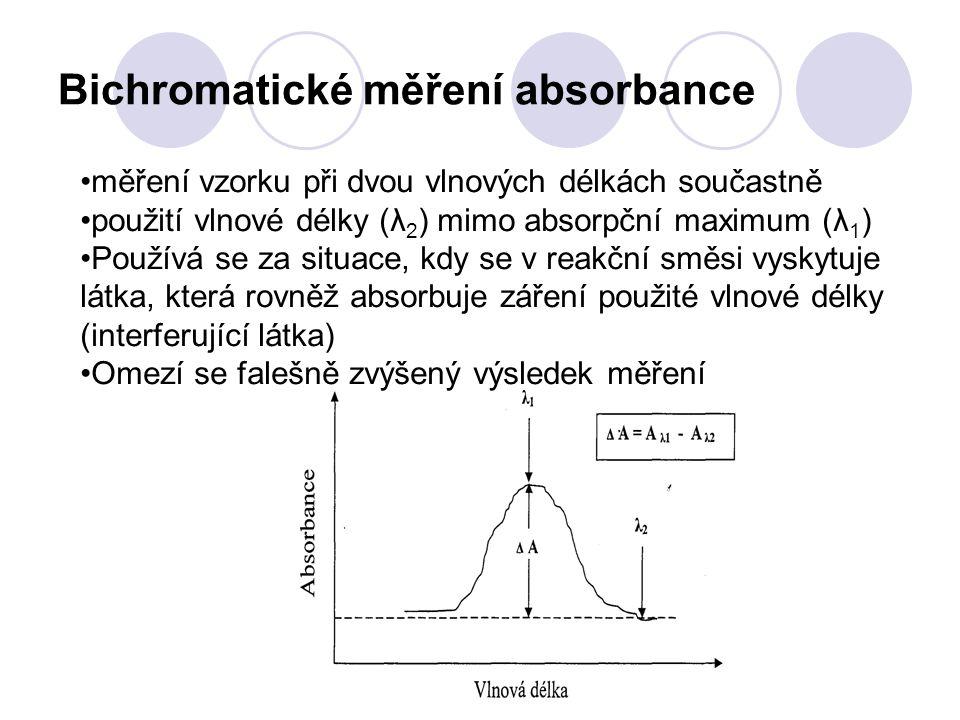 Bichromatické měření absorbance měření vzorku při dvou vlnových délkách součastně použití vlnové délky (λ 2 ) mimo absorpční maximum (λ 1 ) Používá se za situace, kdy se v reakční směsi vyskytuje látka, která rovněž absorbuje záření použité vlnové délky (interferující látka) Omezí se falešně zvýšený výsledek měření