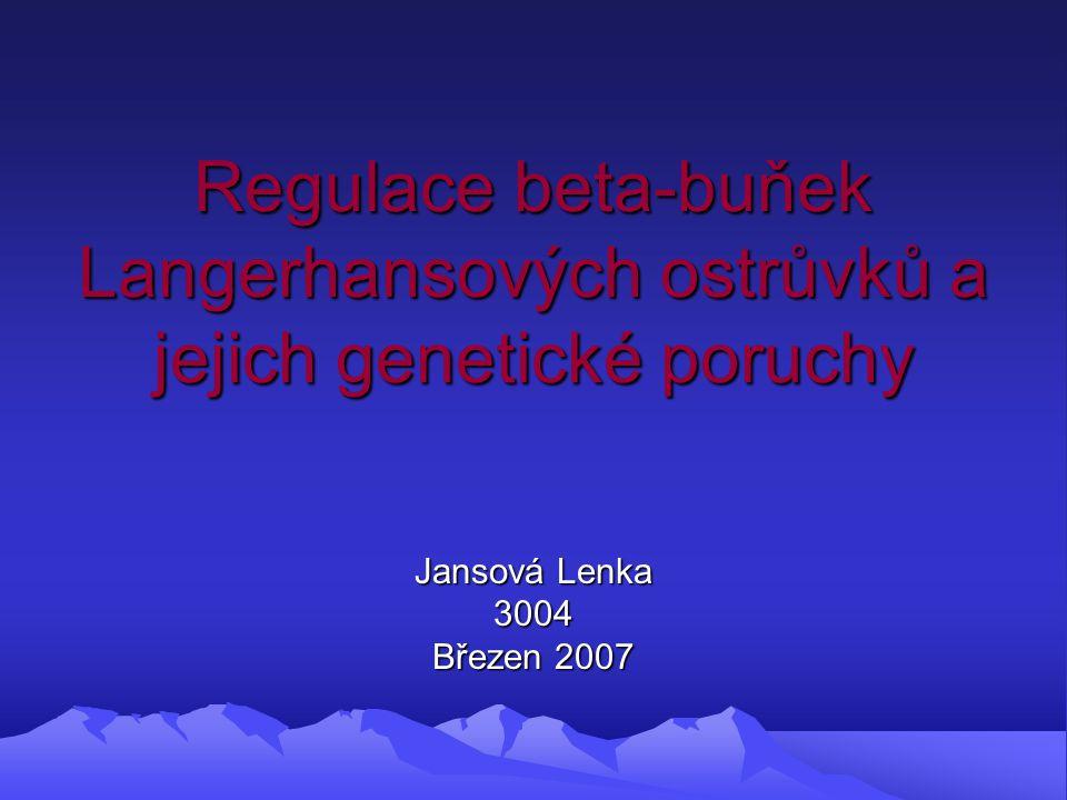 Regulace beta-buňek Langerhansových ostrůvků a jejich genetické poruchy Jansová Lenka 3004 Březen 2007