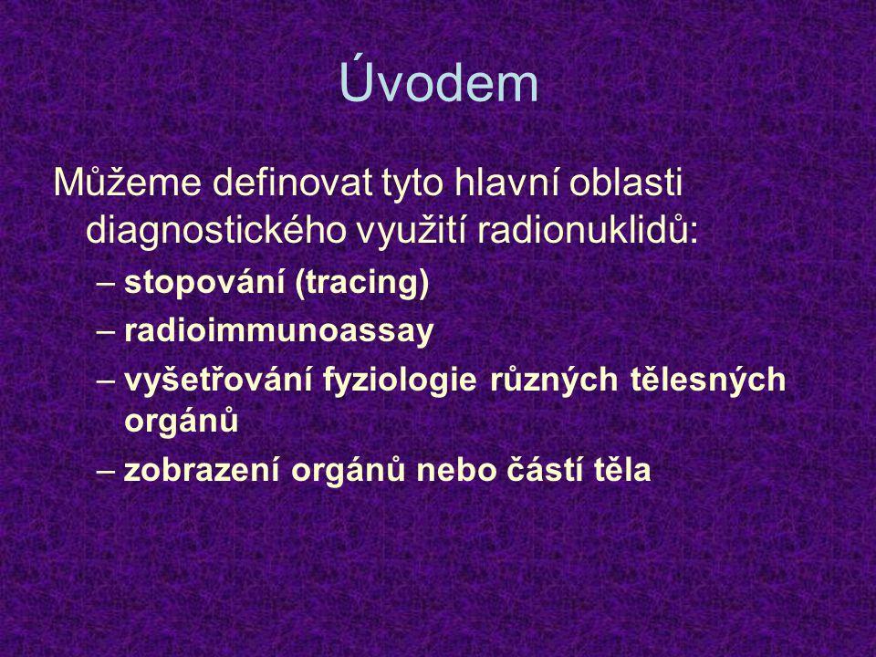 Úvodem Můžeme definovat tyto hlavní oblasti diagnostického využití radionuklidů: –stopování (tracing) –radioimmunoassay –vyšetřování fyziologie různýc