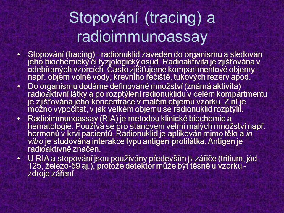 Stopování (tracing) a radioimmunoassay Stopování (tracing) - radionuklid zaveden do organismu a sledován jeho biochemický či fyziologický osud. Radioa