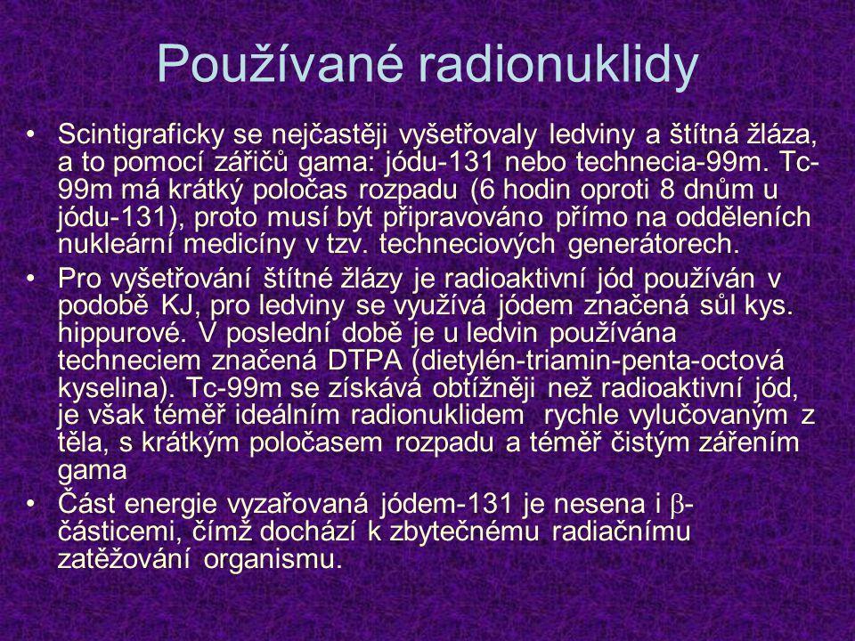 Používané radionuklidy Scintigraficky se nejčastěji vyšetřovaly ledviny a štítná žláza, a to pomocí zářičů gama: jódu-131 nebo technecia-99m. Tc- 99m