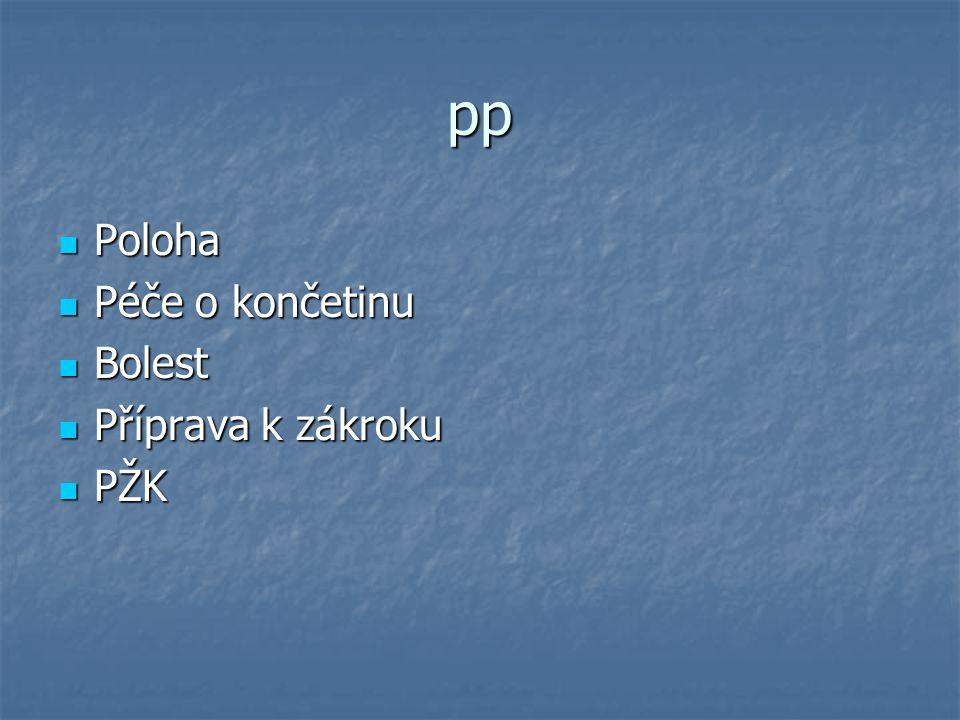 pp Poloha Poloha Péče o končetinu Péče o končetinu Bolest Bolest Příprava k zákroku Příprava k zákroku PŽK PŽK