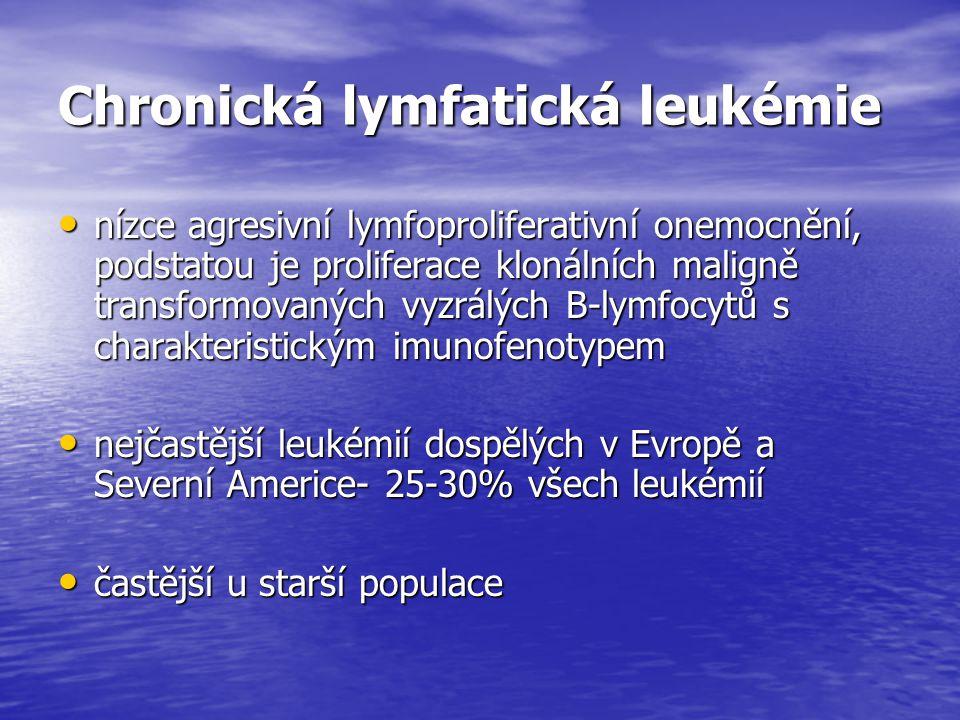 Chronická lymfatická leukémie nízce agresivní lymfoproliferativní onemocnění, podstatou je proliferace klonálních maligně transformovaných vyzrálých B