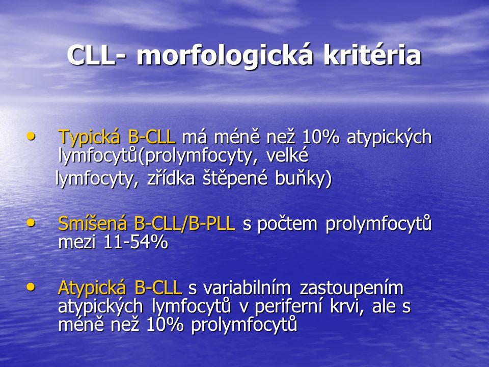 CLL- morfologická kritéria CLL- morfologická kritéria Typická B-CLL má méně než 10% atypických lymfocytů(prolymfocyty, velké Typická B-CLL má méně než