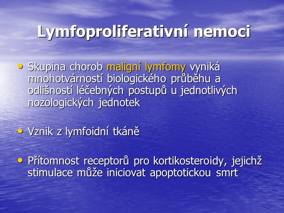 Lymfoproliferativní nemoci Lymfoproliferativní nemoci Skupina chorob maligní lymfomy vyniká mnohotvárností biologického průběhu a odlišností léčebných