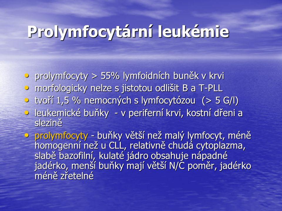 Prolymfocytární leukémie Prolymfocytární leukémie prolymfocyty > 55% lymfoidních buněk v krvi prolymfocyty > 55% lymfoidních buněk v krvi morfologicky