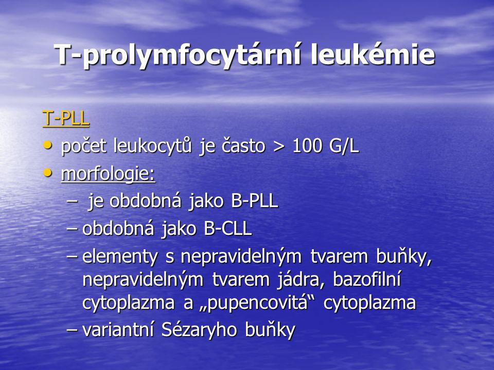 T-prolymfocytární leukémie T-prolymfocytární leukémie T-PLL počet leukocytů je často > 100 G/L počet leukocytů je často > 100 G/L morfologie: morfolog
