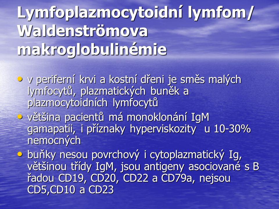 Lymfoplazmocytoidní lymfom/ Waldenströmova makroglobulinémie v periferní krvi a kostní dřeni je směs malých lymfocytů, plazmatických buněk a plazmocyt