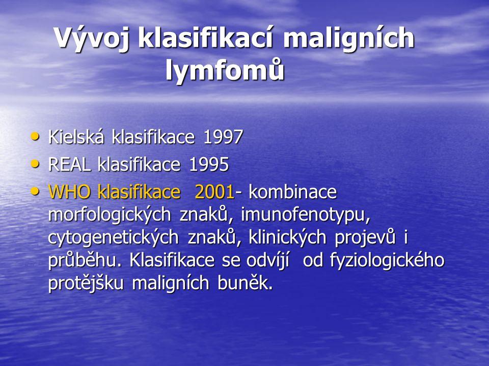 Vývoj klasifikací maligních lymfomů Vývoj klasifikací maligních lymfomů Kielská klasifikace 1997 Kielská klasifikace 1997 REAL klasifikace 1995 REAL k