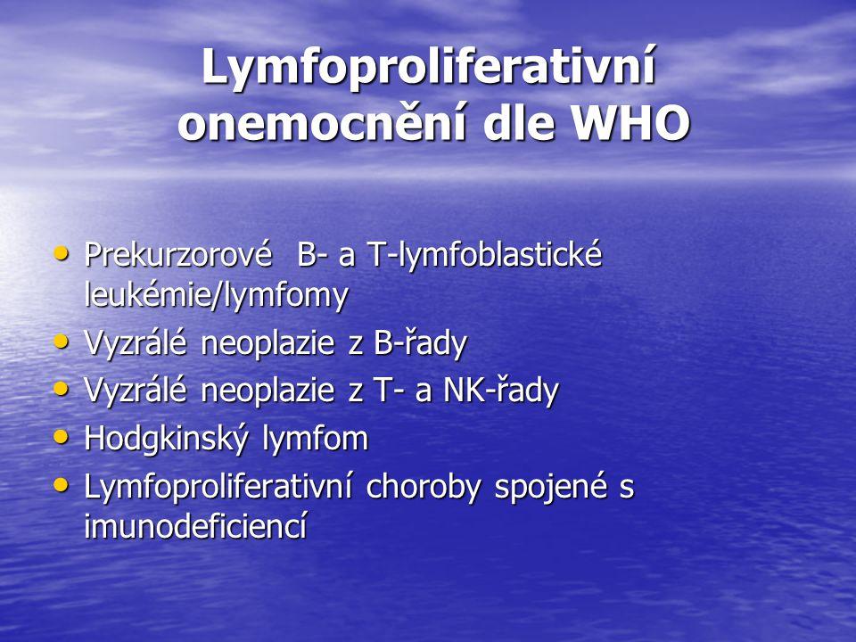 Lymfoproliferativní onemocnění dle WHO Lymfoproliferativní onemocnění dle WHO Prekurzorové B- a T-lymfoblastické leukémie/lymfomy Prekurzorové B- a T-