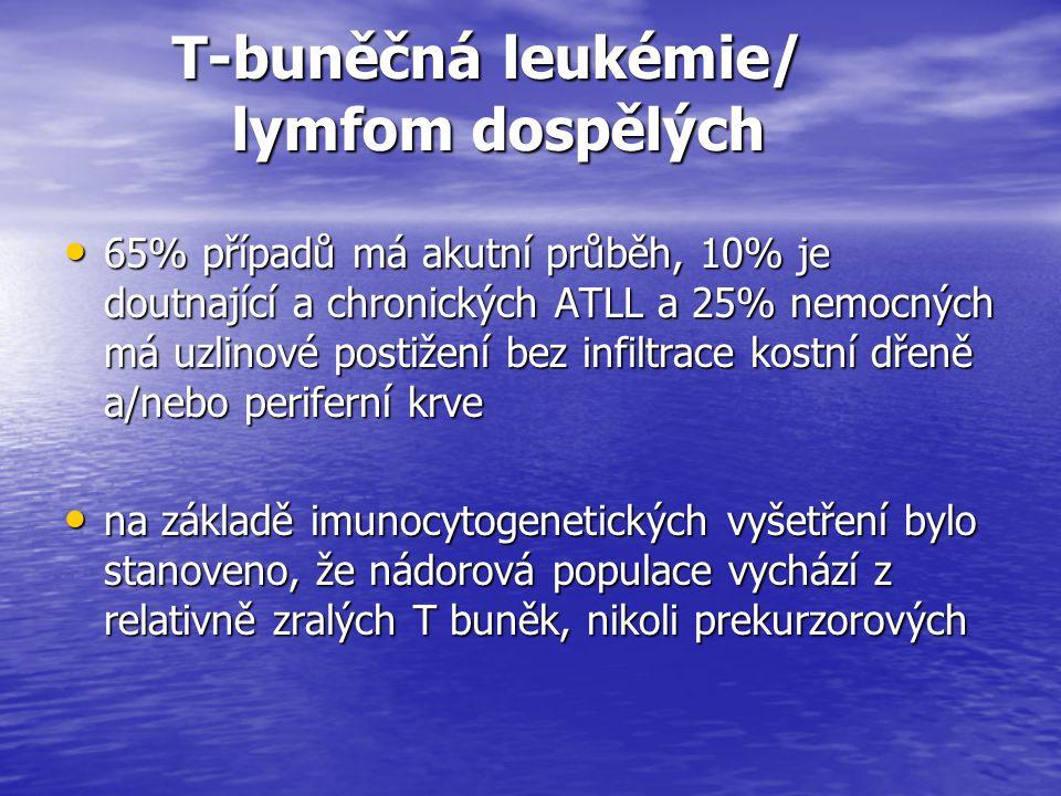 T-buněčná leukémie/ lymfom dospělých T-buněčná leukémie/ lymfom dospělých 65% případů má akutní průběh, 10% je doutnající a chronických ATLL a 25% nem