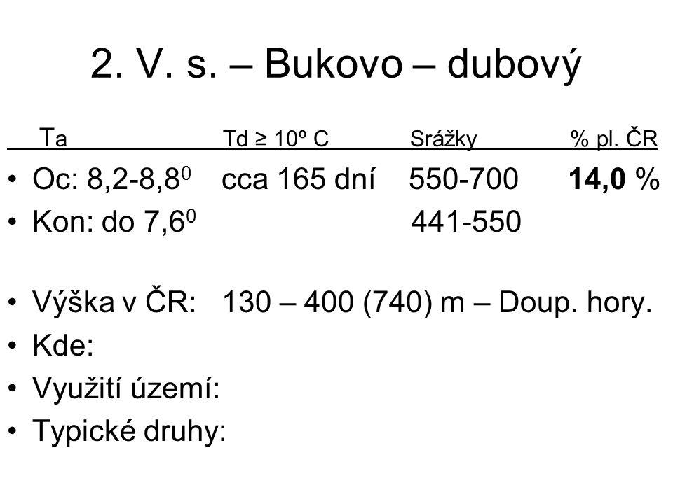 2. V. s. – Bukovo – dubový T a Td ≥ 10º C Srážky % pl. ČR Oc: 8,2-8,8 0 cca 165 dní 550-700 14,0 % Kon: do 7,6 0 441-550 Výška v ČR: 130 – 400 (740) m