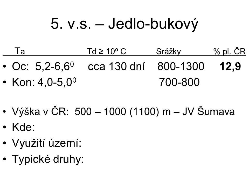 5. v.s. – Jedlo-bukový T a Td ≥ 10º C Srážky % pl. ČR Oc: 5,2-6,6 0 cca 130 dní 800-1300 12,9 Kon: 4,0-5,0 0 700-800 Výška v ČR: 500 – 1000 (1100) m –