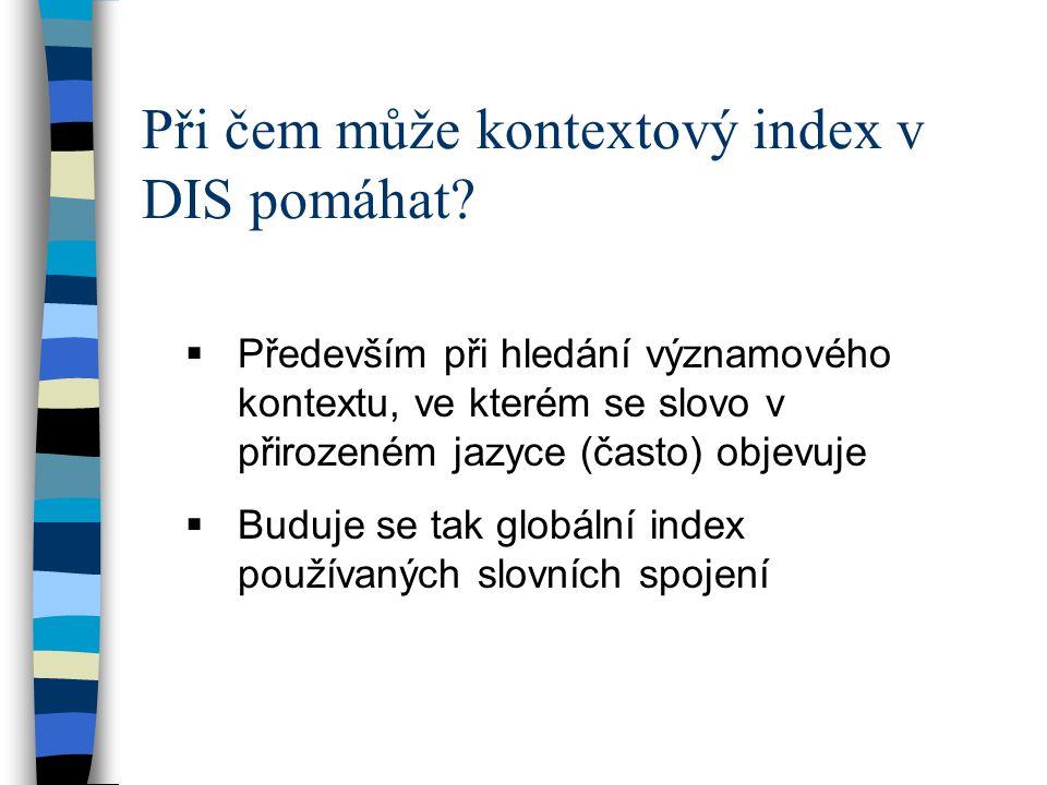 Při čem může kontextový index v DIS pomáhat.