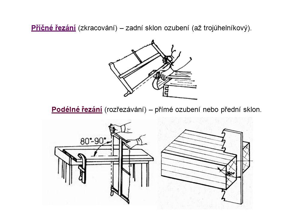 Příčné řezání (zkracování) – zadní sklon ozubení (až trojúhelníkový). Podélné řezání (rozřezávání) – přímé ozubení nebo přední sklon.