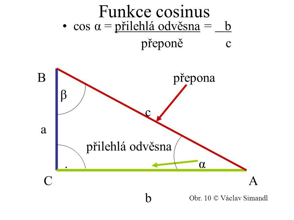 cos α = přilehlá odvěsna = b přeponě c B přepona β c a přilehlá odvěsna. α C A b Obr. 10 © Václav Simandl