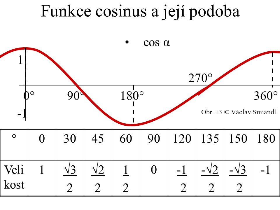 Funkce cosinus a její podoba cos α 1 270° 0° 90° 180° 360° -1 °030456090120135150180 Veli kost 1√3 2 √2 2 1212 0 2 -√2 2 -√3 2 Obr. 13 © Václav Simand