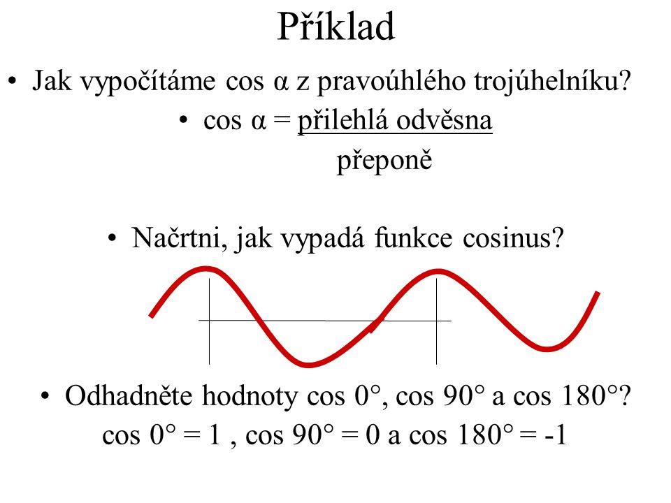 Příklad Jak vypočítáme cos α z pravoúhlého trojúhelníku? cos α = přilehlá odvěsna přeponě Načrtni, jak vypadá funkce cosinus? Odhadněte hodnoty cos 0°