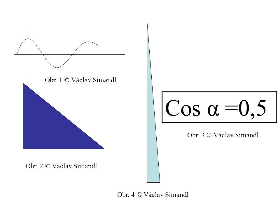 Funkce cosinus a její podoba cos α 1 270° 0° 90° 180° 360° -1 °030456090120135150180 Veli kost 1√3 2 √2 2 1212 0 2 -√2 2 -√3 2 Obr.