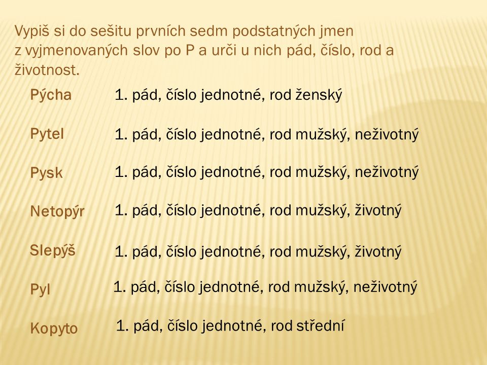 Vypiš si do sešitu prvních sedm podstatných jmen z vyjmenovaných slov po P a urči u nich pád, číslo, rod a životnost. Pýcha Pytel Pysk Netopýr Slepýš