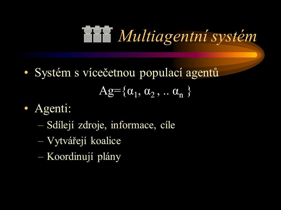 Multiagentní systém Systém s vícečetnou populací agentů Ag={α 1, α 2,.. α n } Agenti: –Sdílejí zdroje, informace, cíle –Vytvářejí koalice –Koordinují