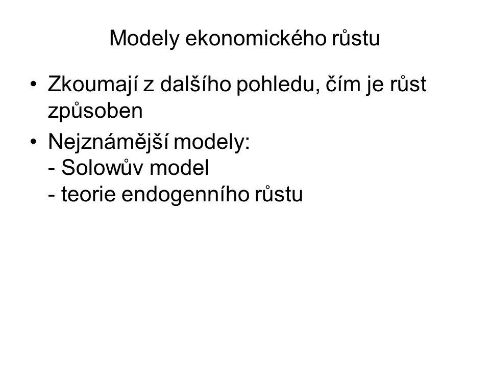 Modely ekonomického růstu Zkoumají z dalšího pohledu, čím je růst způsoben Nejznámější modely: - Solowův model - teorie endogenního růstu