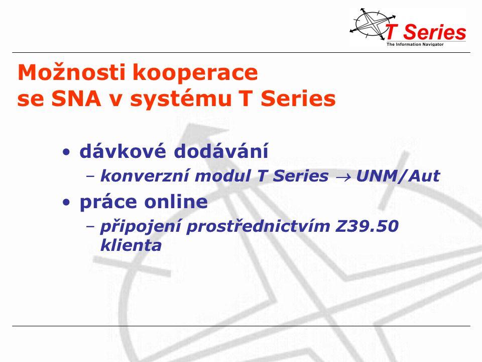 Možnosti kooperace se SNA v systému T Series dávkové dodávání –konverzní modul T Series  UNM/Aut práce online –připojení prostřednictvím Z39.50 klienta