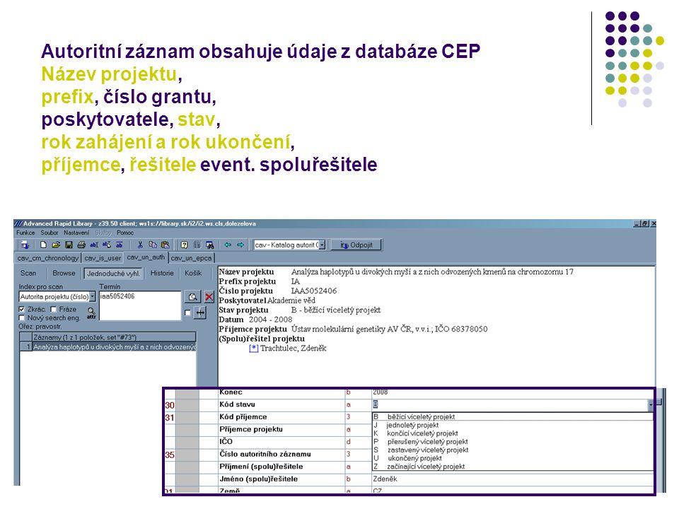 Autoritní záznam obsahuje údaje z databáze CEP Název projektu, prefix, číslo grantu, poskytovatele, stav, rok zahájení a rok ukončení, příjemce, řešit
